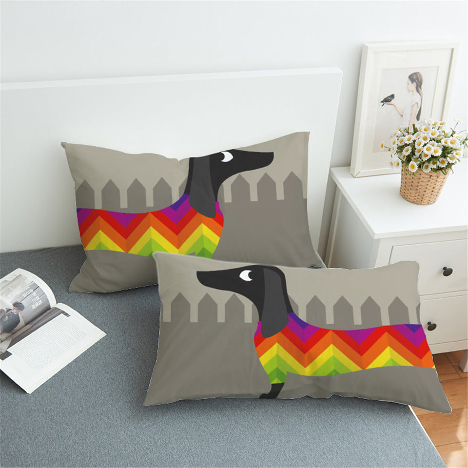 2 Pieces Dachshund Dog Cute Puppy Soft Pillow Cases 🐾