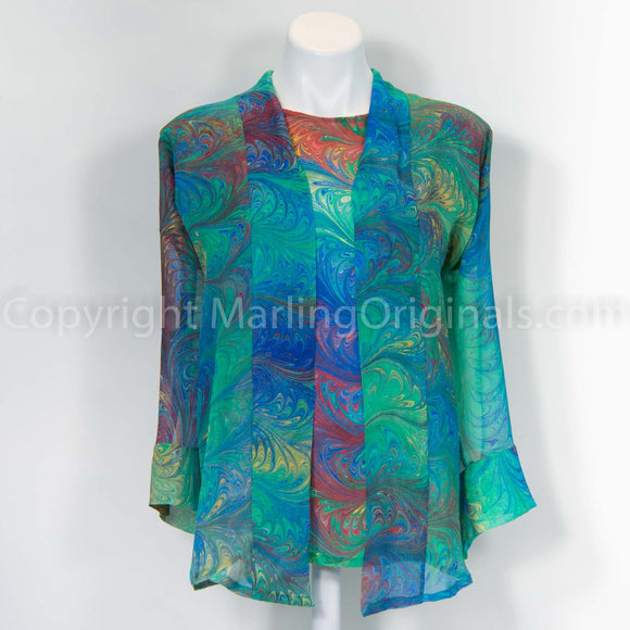 Silk chiffon kimono jacket marbled in Sienna pattern. One size fits most. Casual to elegant look.