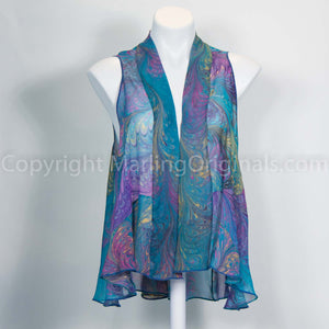 Silk chiffon vest features a flowing drape in our beautiful marbled fabric.  One size fits most.