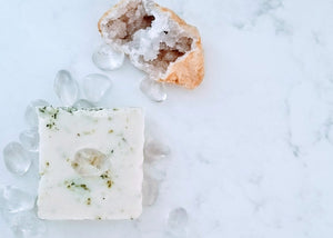 Purity Garden: Artisan Kaolin Clay, Organic Herb Garden, Organic Cucumber and Clear Quartz Soap Bar
