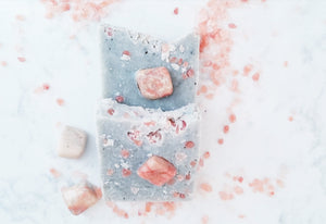Grey Moon: Earl Grey, Glacial Mud, Himalayan Sea Salt, Patchouli, Lemon and Pink Moonstone Soap Bar