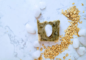 Thrive: Organic Matcha, Madagascar Vanilla Bean, Coconut Cream, Oats and Milky Quartz Soap Bar