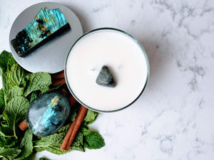 Enlightened Path: Peppermint, Cinnamon and Labradorite Soy Candle