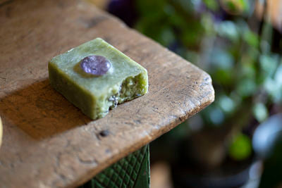 Into Nature: Artisan Organic Spirulina, Lavender and Amethyst Soap Bar