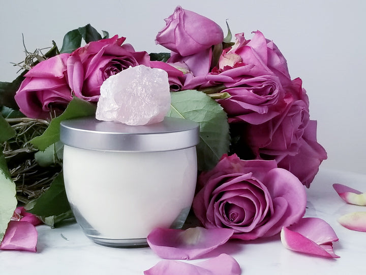 Infinite Gratitude: Rose Geranium and Rose Quartz Soy Candle