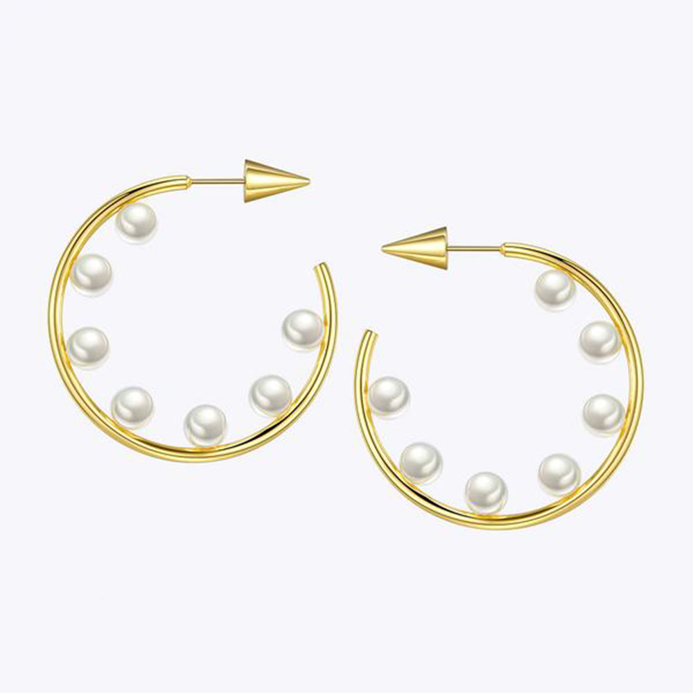 Spike Pearl Hoop Earrings