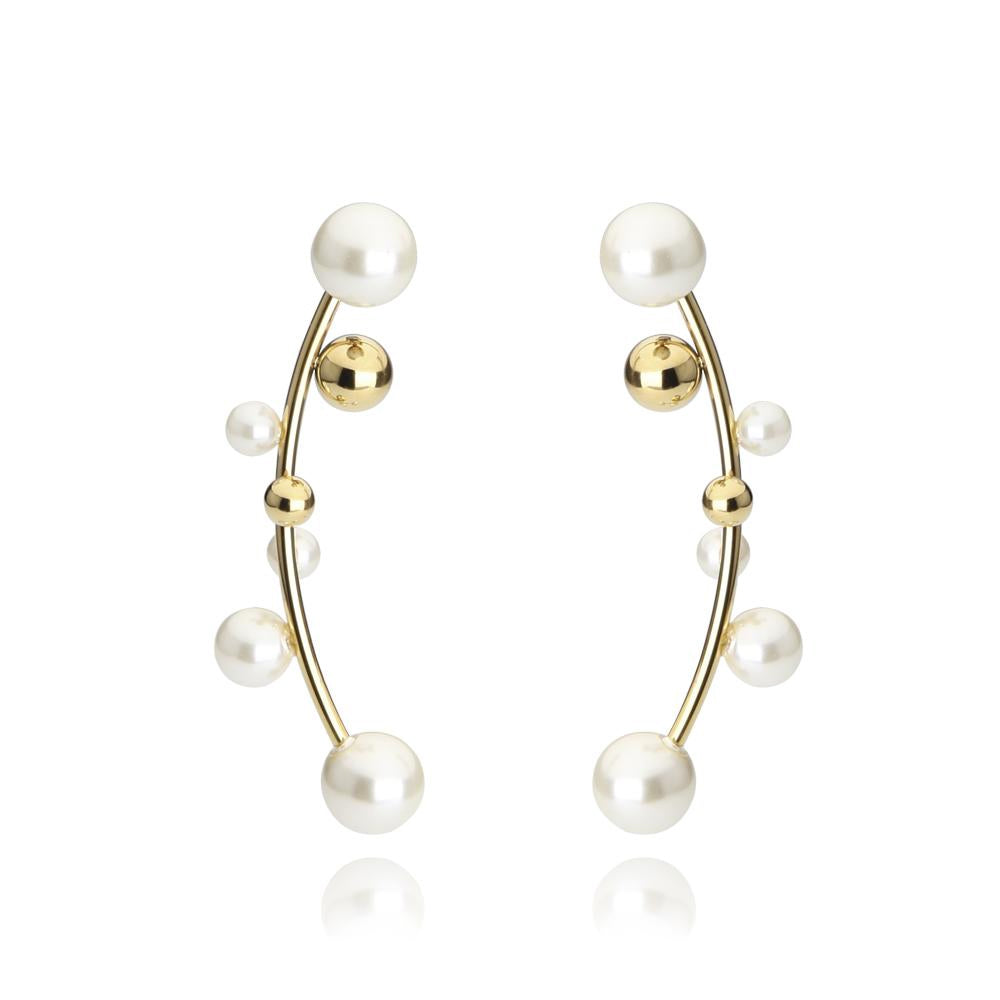 White Pearl Mismatched Cuff Earrings