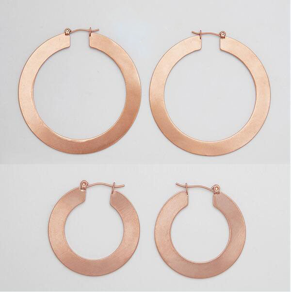 Vintage Large Hoop Matte Gold Earrings