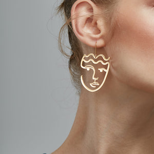 Classic Gold Face Earrings
