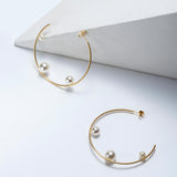 Geometric Gold Pearl Earrings