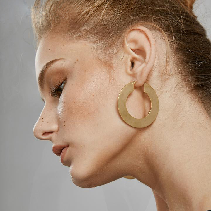 Matte Gold Vintage Hoop Earrings