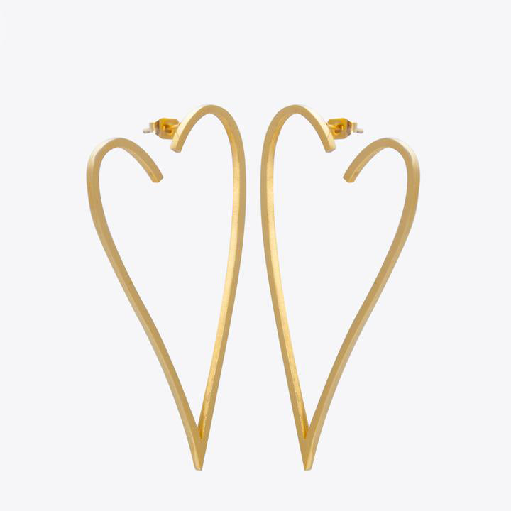 Geometric Big Heart Earrings
