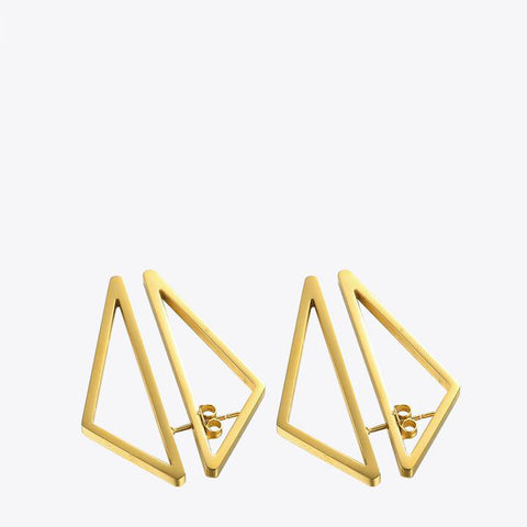 Triangle Double Sided Gold Earrings