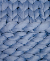 Extra Long Chunky Knit Throw - Blue