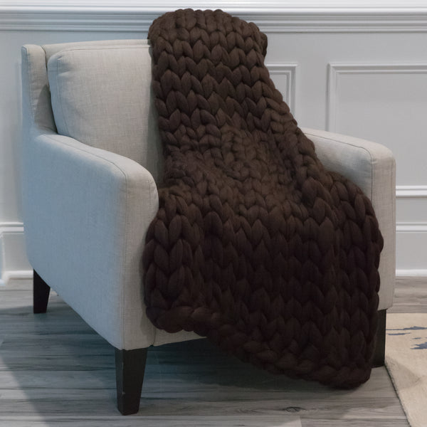 Large Chunky Knit Throw - You Mocha Me Crazy - 40 inches by 60 inches