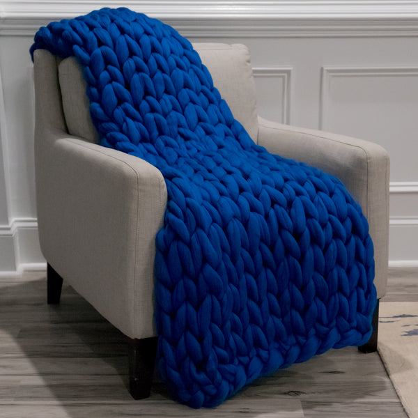 Large Chunky Knit Throw - Blue My Mind - 40 inches by 60 inches
