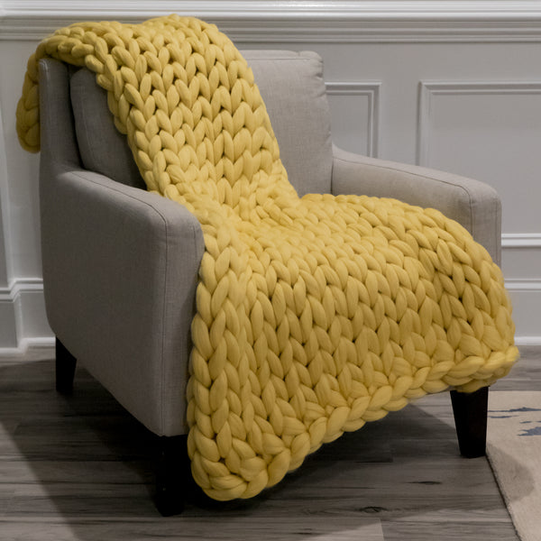 Large Chunky Knit Throw - Smooth as Buttah - 40 inches by 60 inches