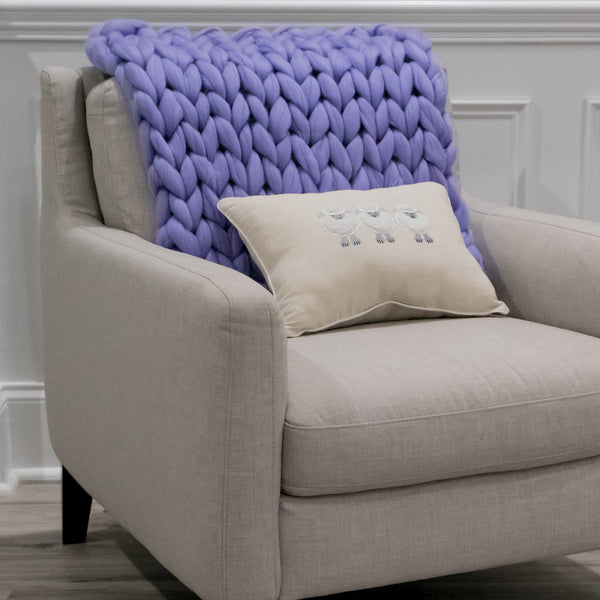Chunky Knit Mat - Love Lavender - 22 inches by 22 inches