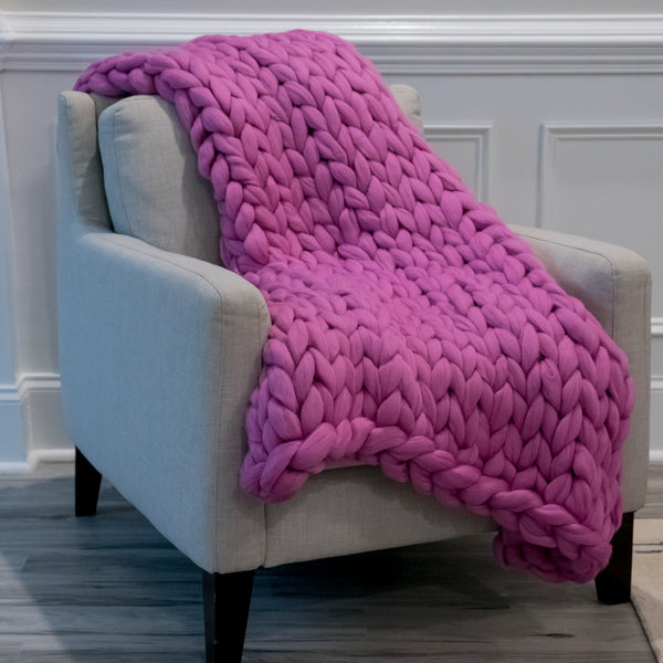 Lap Chunky Knit Throw - Light Plum Crazy - 35 inches by 50 inches
