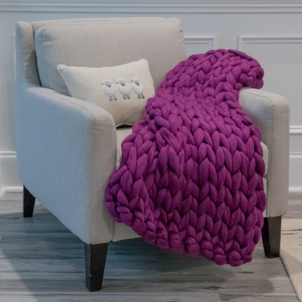 Chunky Knit Throw- Dark Plum Crazy - 35 inches by 40 inches
