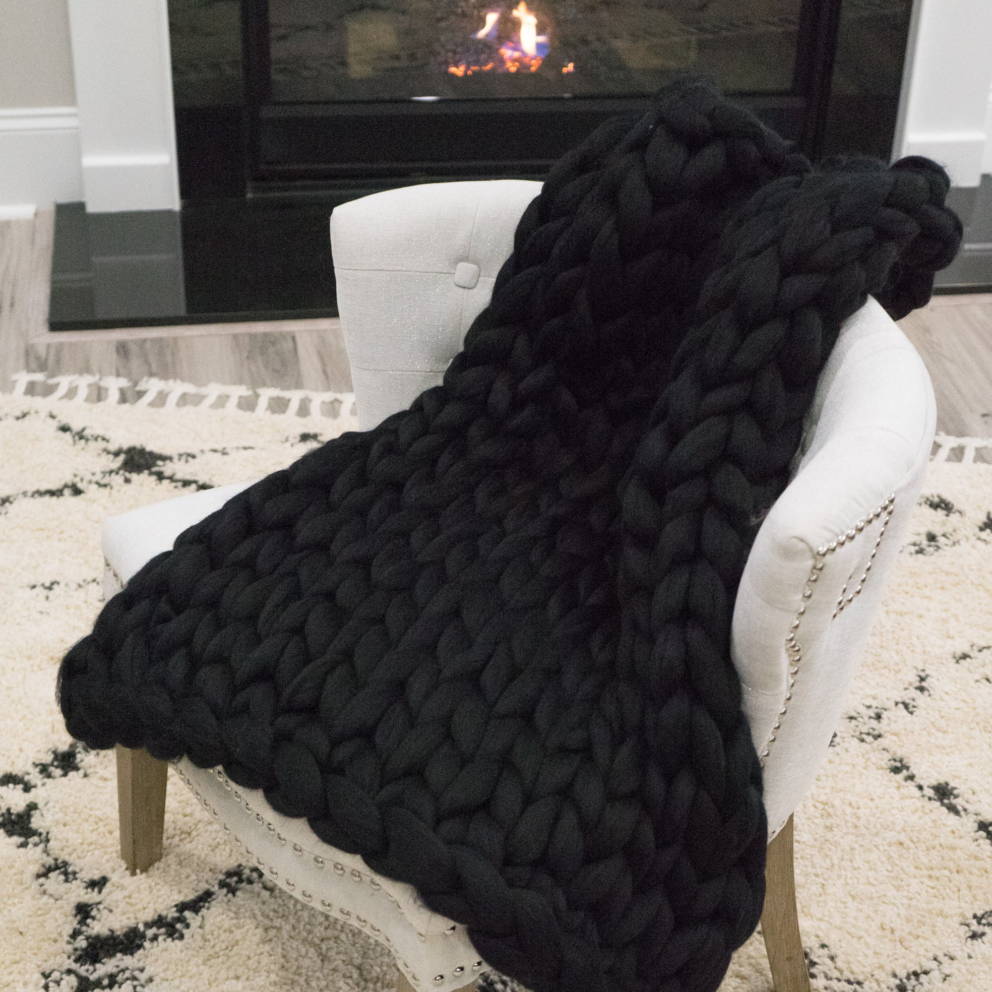 Chunky Knit Throw - Midnight Oil (Black) - 30 inches by 22 inches