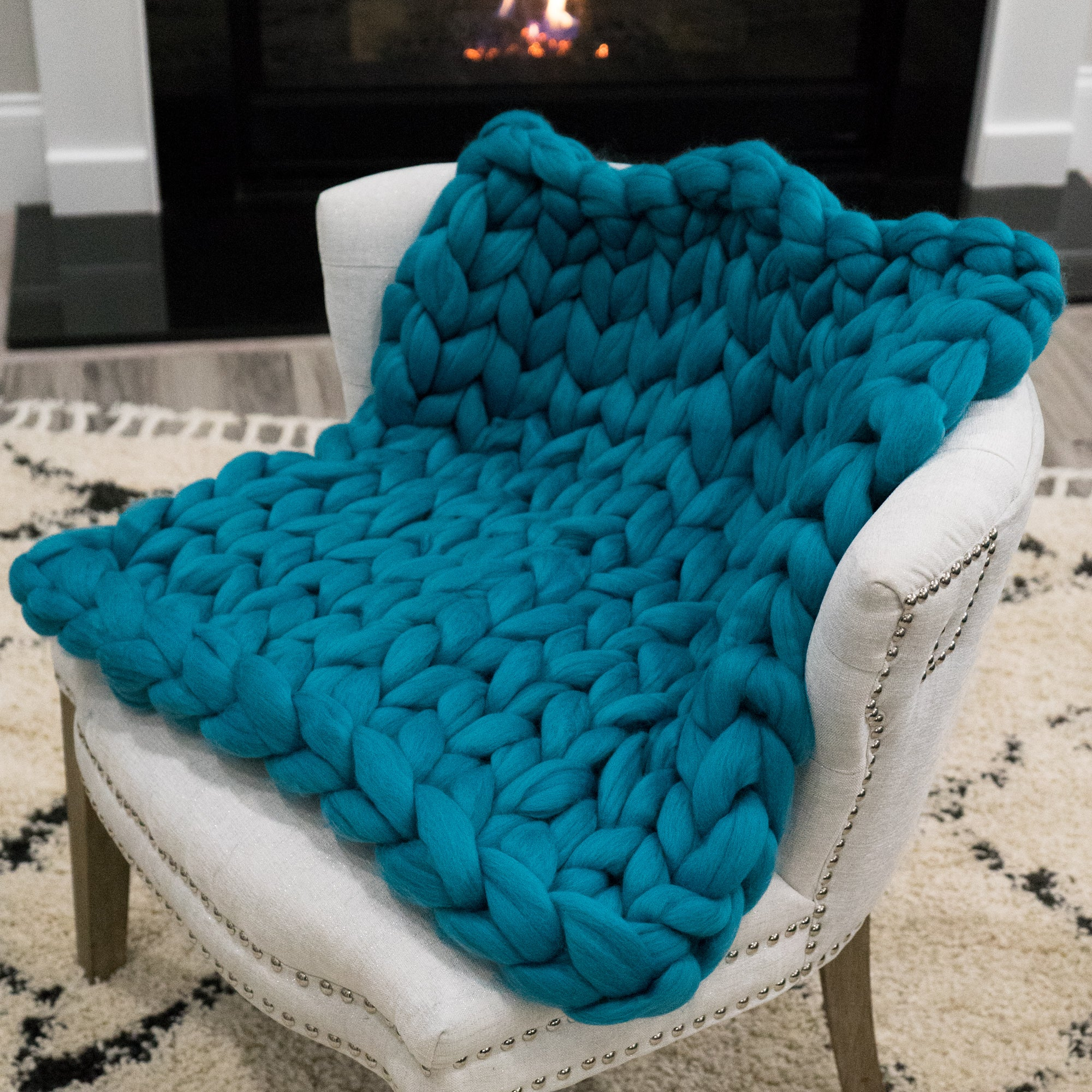 Chunky Knit Throw - Shake Your Tealfeathers (Teal) - 26 inches by 24 inches