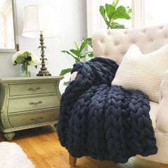 Large Chunky Knit Merino Wool Throw
