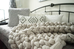 Twin Size Chunky Knit Merino Wool Bed Cover