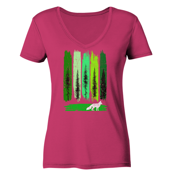 Fuchs im Wald - Ladies Organic V-Neck Shirt
