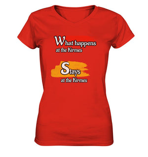What happens at the Kirmes -  Ladies V-Neck Shirt
