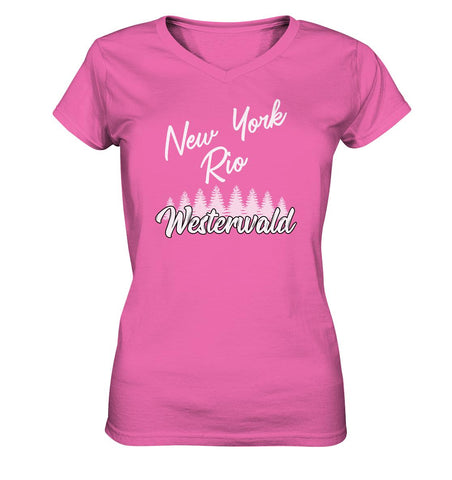 New York, Rio, Westerwald -  Ladies V-Neck Shirt