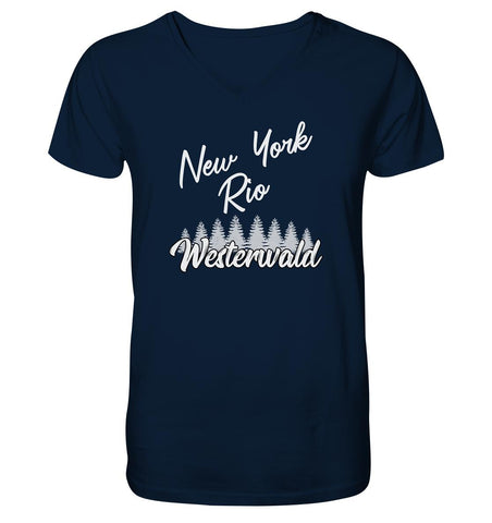 New York, Rio, Westerwald -  Mens Organic V-Neck Shirt