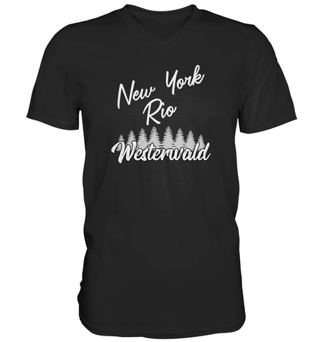 New York, Rio, Westerwald -  Mens V-Neck Shirt