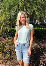 Dusty Blue Flowy Muscle T-Shirt