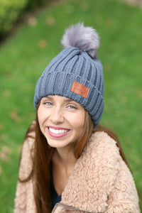 Grateful Pom Hat (black, grey, navy)