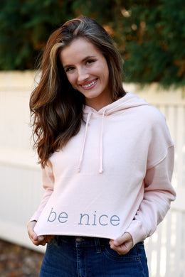Blush Cropped Fleece Hoodie