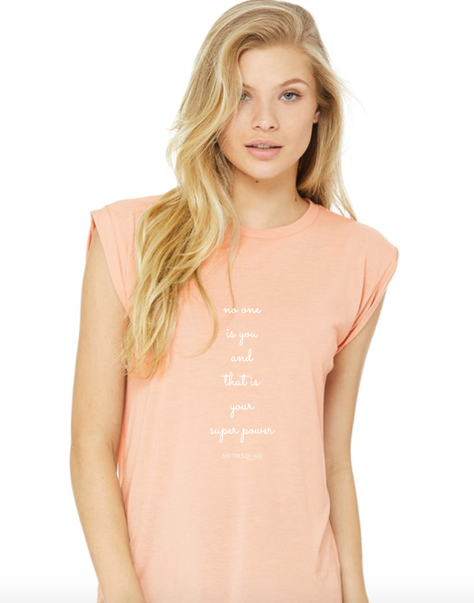 Peach Flowy Muscle T-shirt