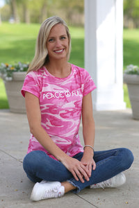 Pink Peace Full Camo T-shirt