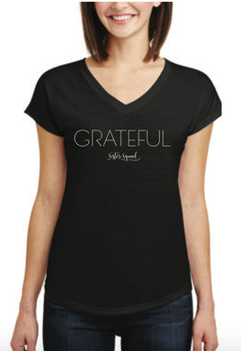 Black Grateful V-neck Tee
