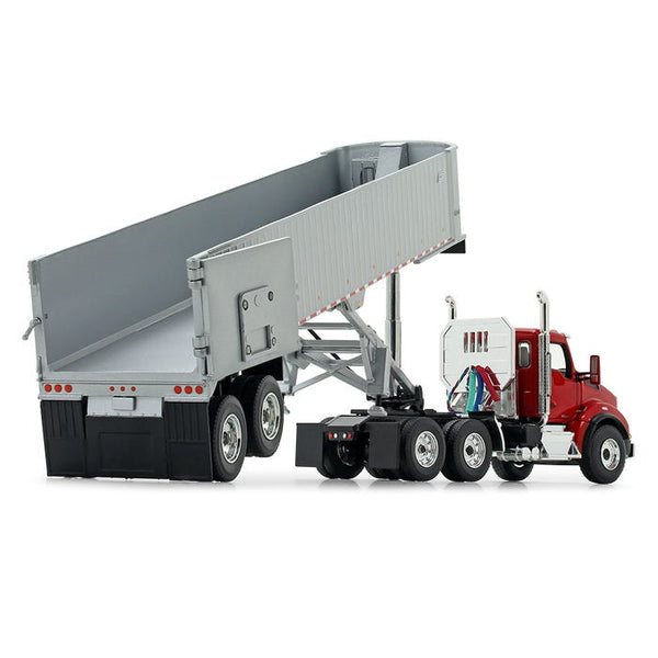 IN STOCK - 1/50 Scale Kenworth T880 w/ East Genesis Dump Trailer - Viper Red/Silver