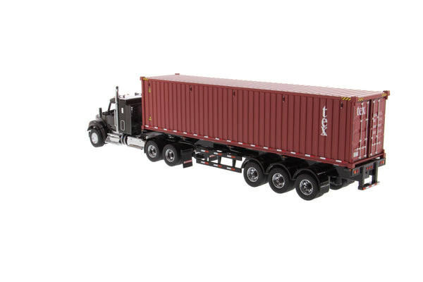 "1/50 Scale Kenworth T880 w/ 40"" Sleeper and 40' Container - Black/TEX Red"