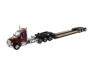 1/50 Scale Kenworth T880 SFFA Tridem Tractor with XL 120 Lowboy (Outrigger Style) with 2 Boosters and Jeep - Radiant Red/Black