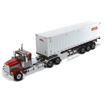 1:50 Western Star 4900 SF Day Cab Tandem Tractor with 40' Dry Good Sea Container - Maroon/Gray/OOCL Container
