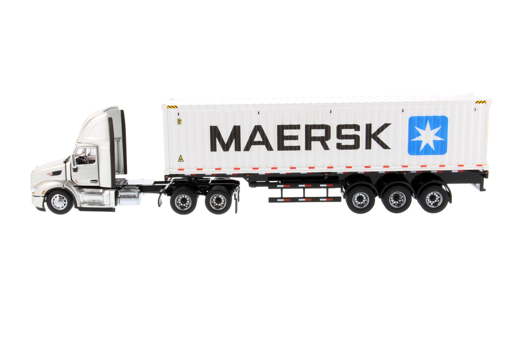 1:50 Peterbilt 579 Day Cab Tractor with 40' Sea Container - Legendary Silver/Maersk