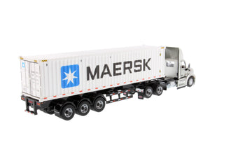 (Pre-order Deposit) 1/50 Scale Peterbilt 579 Day Cab Tractor with 40' Sea Container - Legendary Silver/Maersk