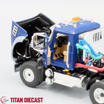 IN STOCK - 1/50 Scale Mack Granite Day Cab w/ Talbert Lowboy Trailer - Blue/Black