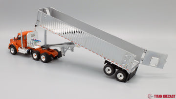 IN STOCK - 1/50 Scale Kenworth T880 w/ East Genesis Dump Trailer - Burnt Orange/Chrome