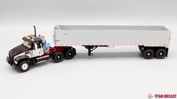 IN STOCK - 1/50 Scale Mack Granite Day Cab w/ East Genesis Dump Trailer - Black/Red/Silver