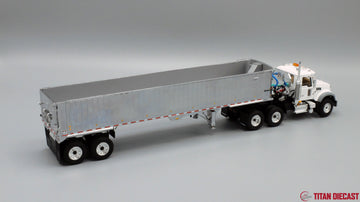 IN STOCK - 1/50 Scale Mack Granite Day Cab w/ East Genesis Dump Trailer - White/Chrome