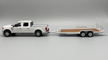 1/50 Scale Ford F250 w/ Tag Trailer - White